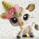 Littlest Pet Shop #1351 White and Gray Cow ~ LPS Pets on The Go