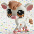 Littlest Pet Shop #476 White and Brown Cow ~ LPS Petting Zoo Cow