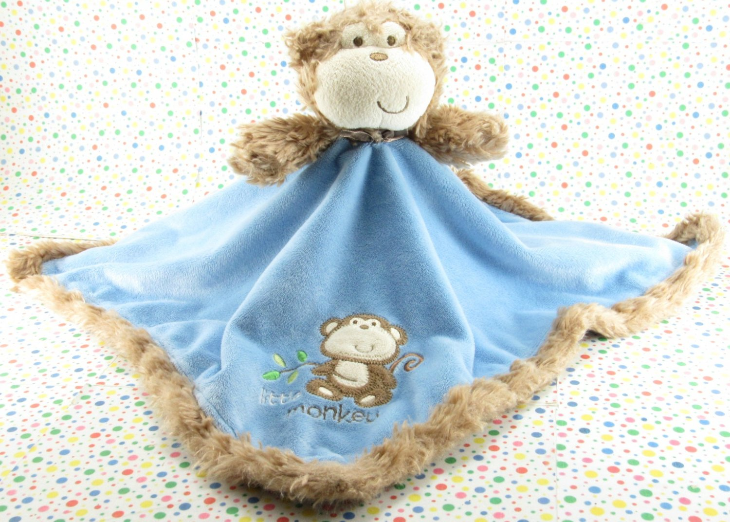 8/20*SOLD~ Baby Starters Blue Monkey Rattle Security Blanket Lovey