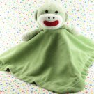 Magic Years Green Sock Monkey Rattle Security Blanket Lovey