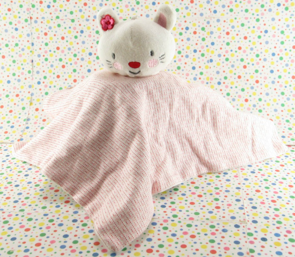 Mamiye Brothers White Kitty Cat Pink Stretchy Cotton Lovey Security Blanket Toy