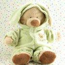 Ty Beanie Pluffies Bunny Teddy Bear Green Pajamas Tylux Baby Toy Plush Lovey