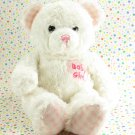Aurora Baby Girl White Teddy Bear Checker Feet Baby Toy Plush Lovey