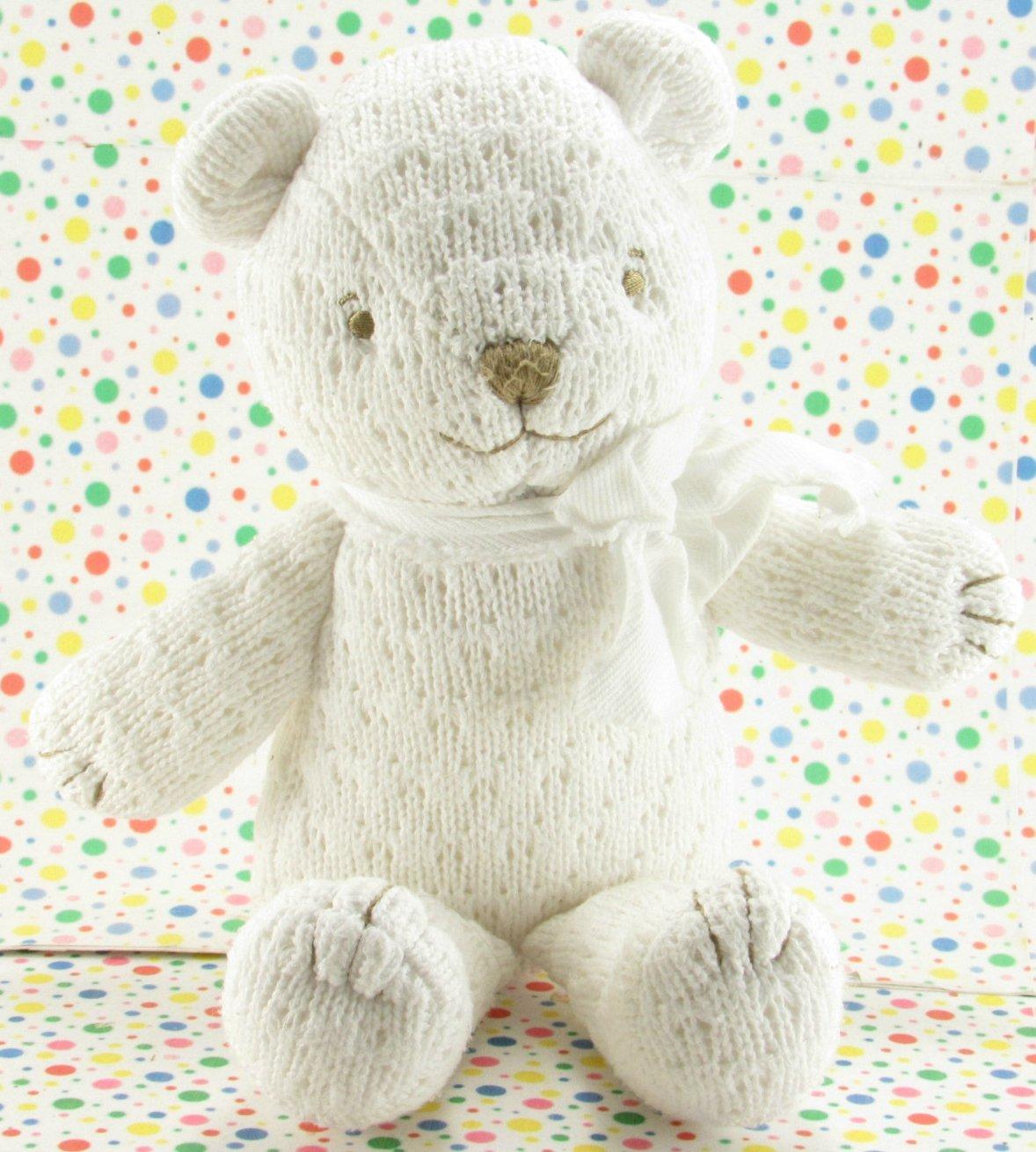 Disney Winnie the Pooh Bear Rattle Crochet White Bear Baby Toy Plush Lovey