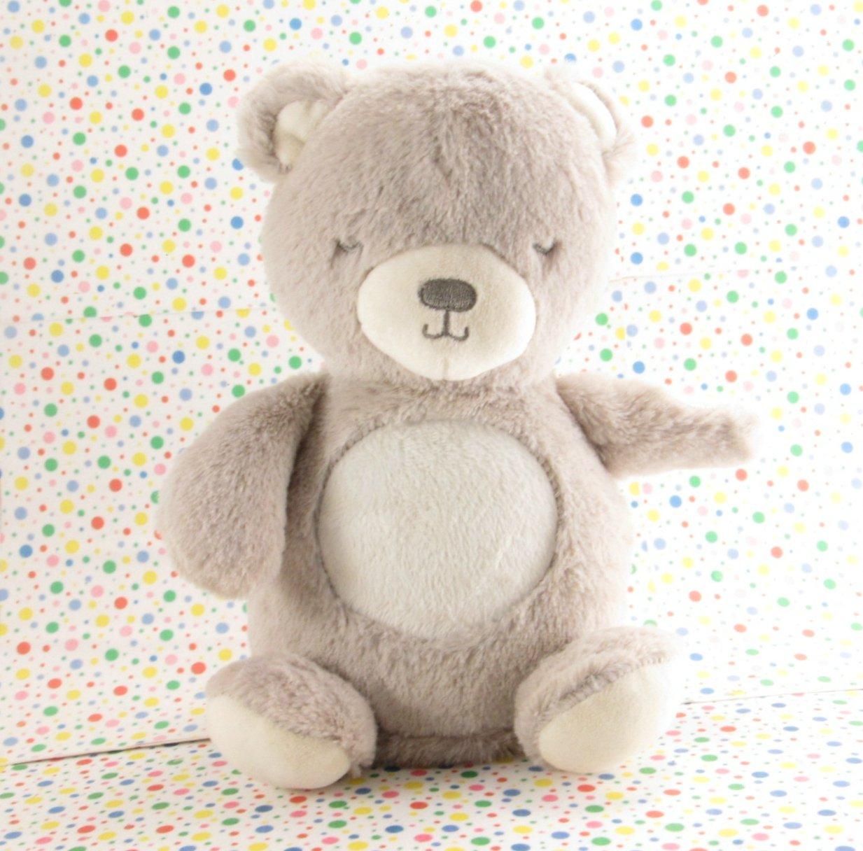 Carter's Gray Night Light Bear Glow Tummy Bear Crib Toy