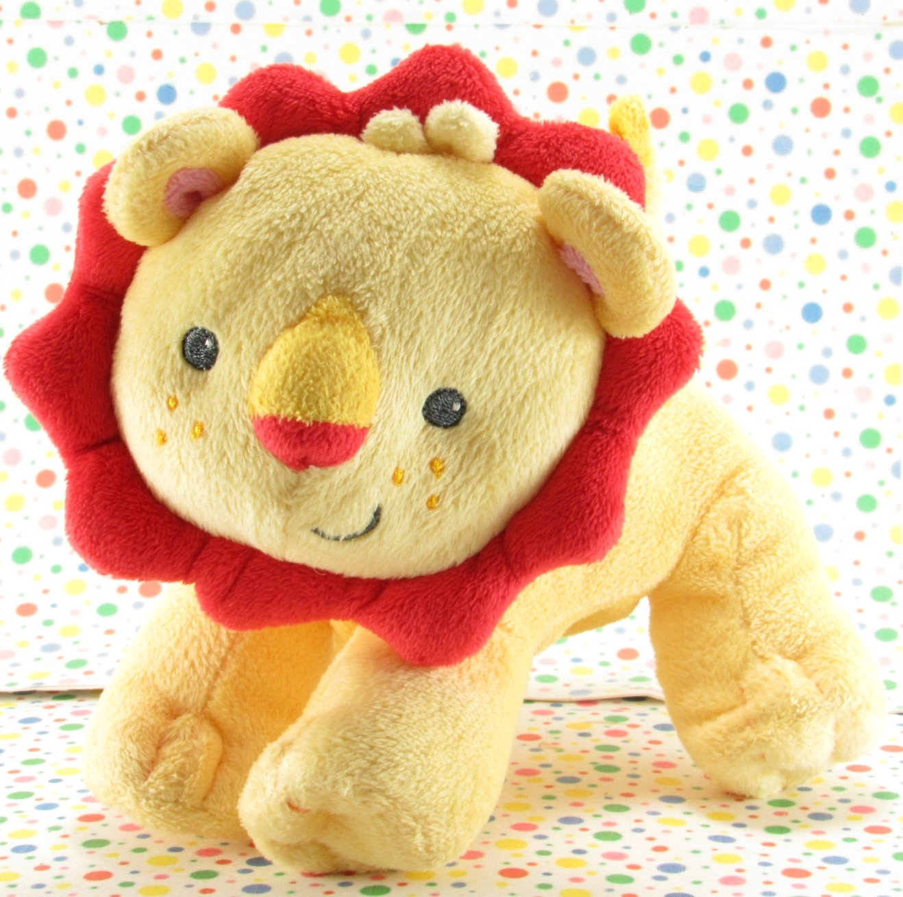 Fisher Price Yellow Red Lion Rattle Baby Toy Plush Lovey