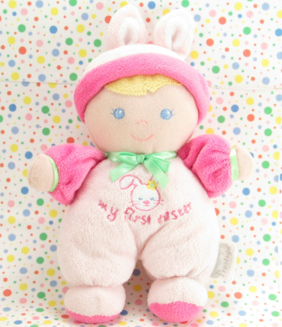 Prestige My First Easter Doll Rattle Pink Bunny Baby Doll Lovey