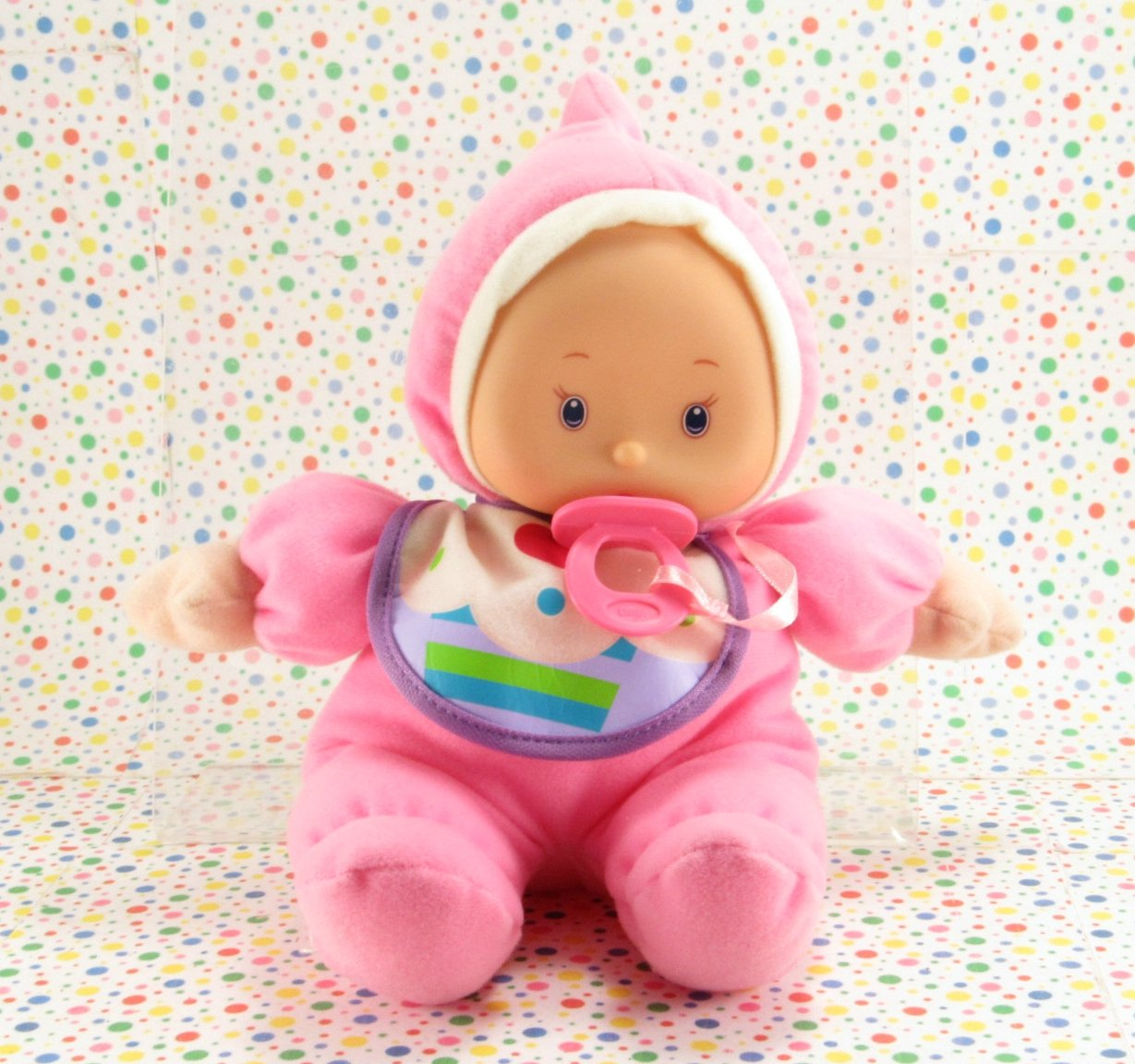 My Sweet Love Soft Baby Doll Pink Cupcake Bib City Toy Baby Doll Lovie