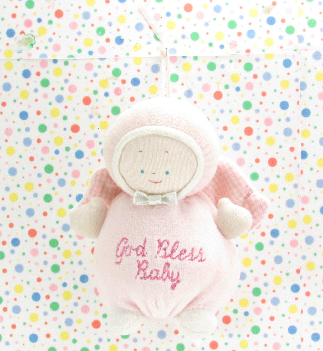 Baby Gund God Bless Baby Pink Angel Rattle Lovey Gund Angel