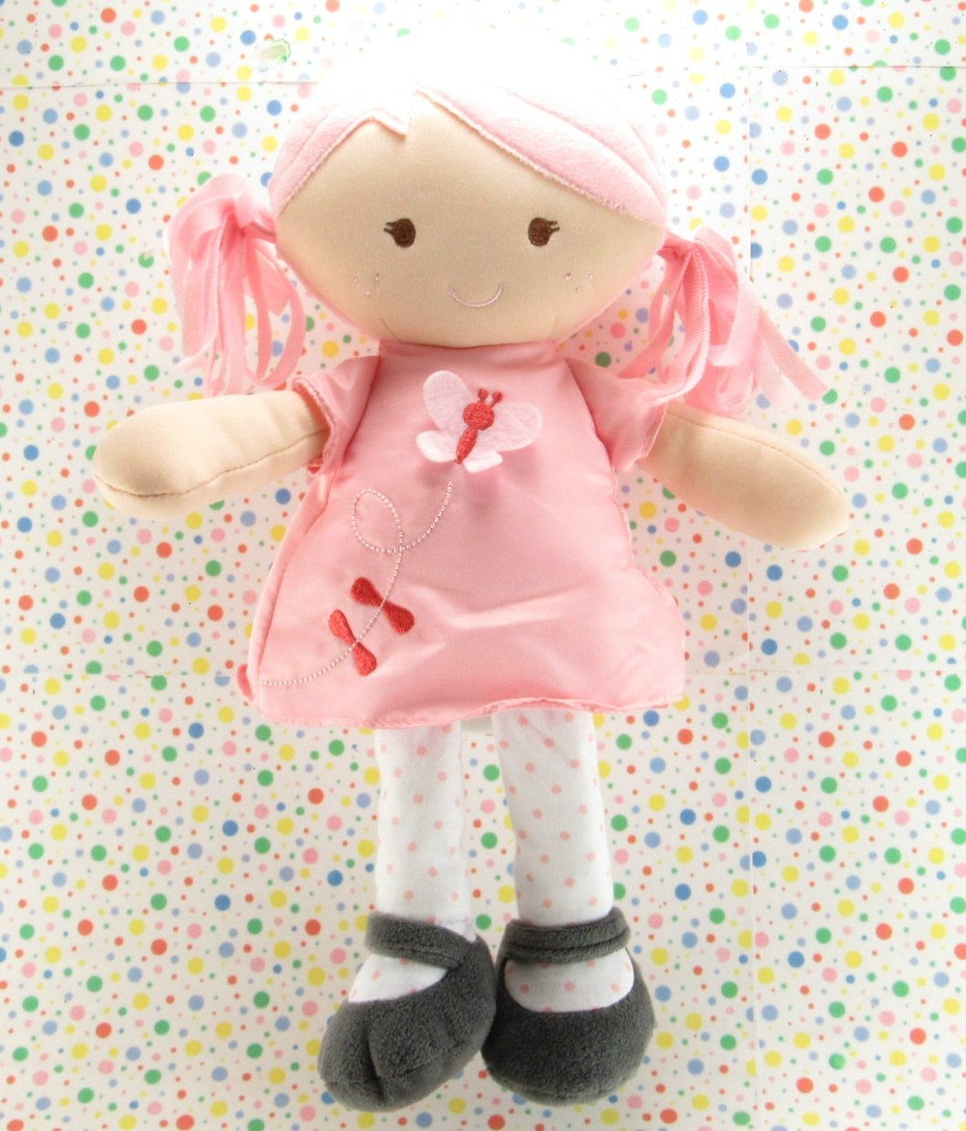 Kids Preferred Pink Doll Ella Doll Soft Dolly Plush Doll Pink Hair