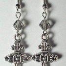 Smokey Swarovski Cross Earrings