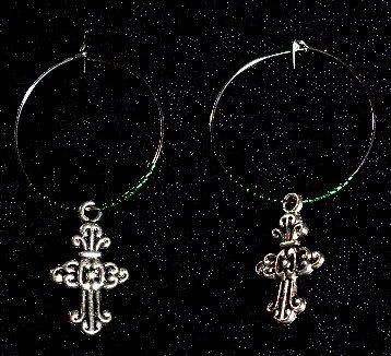 Cross Earrings Green Beads