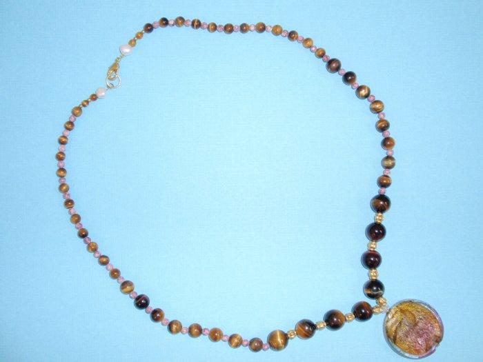 tiger eye necklace w/pendant