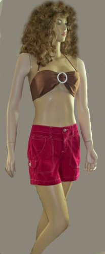 Victoria�s Secret Red Topstitched Cargo Shorts size 8 236952