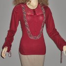 New Victoria's Secret Beaded Long Sleeve Red Top Large  190267