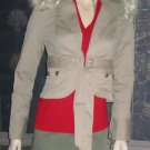 New Victoria's Secret Beige Belted Khaki Jeans Jacket Large 206141