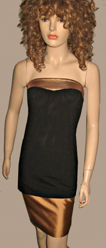 Victoria�s Secret Bronze & Black Strapless Sexy Long Tube Top XS  217025