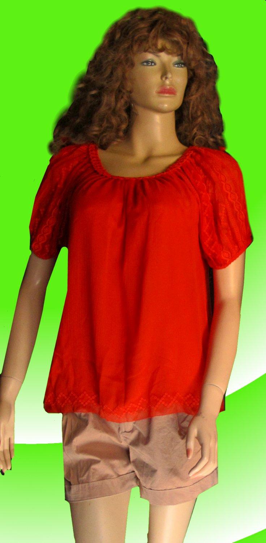 Victoria's Secret Orange Silk Embroidered Scoop Neck Blouse Size Small  239326
