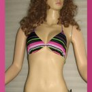New Victoria's Secret Black Print Sliding Triangle String Bikini Medium  210650