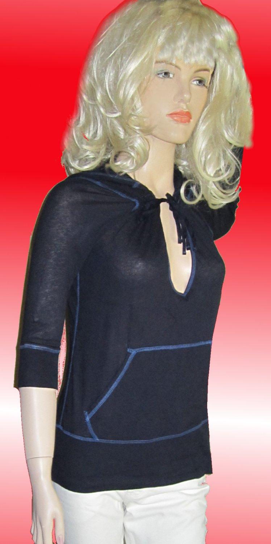Victoria's Secret $38 Navy 3/4 Sleeve Hoody Top Small  236175