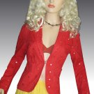 Victoria's Secret $128 Cotton Sequin Tomato Red Orange Eyelet Blazer 8  184120