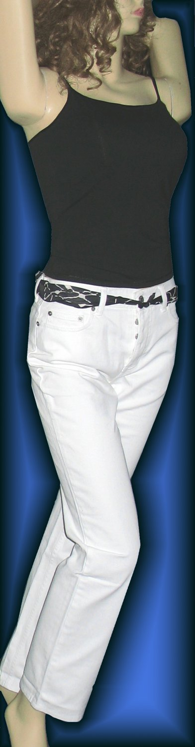 New Victoria�s Secret $60 White Boyfriend Straight Jeans 4  147831