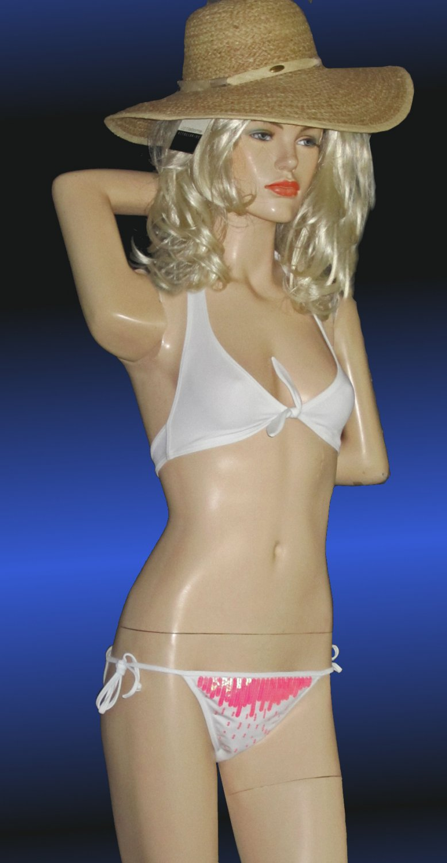 Victoria's Secret $65 Pink Sequin on White Bikini XS Small  179749