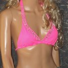 Victoria's Secret $65 Rhinestone Hot Pink Halter Cheetah Print Bikini Small  252147