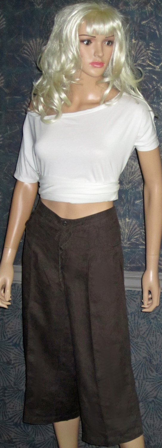 Victoria's Secret Loose Fit Chocolate Brown Linen Cropped Pants Size 6  249026