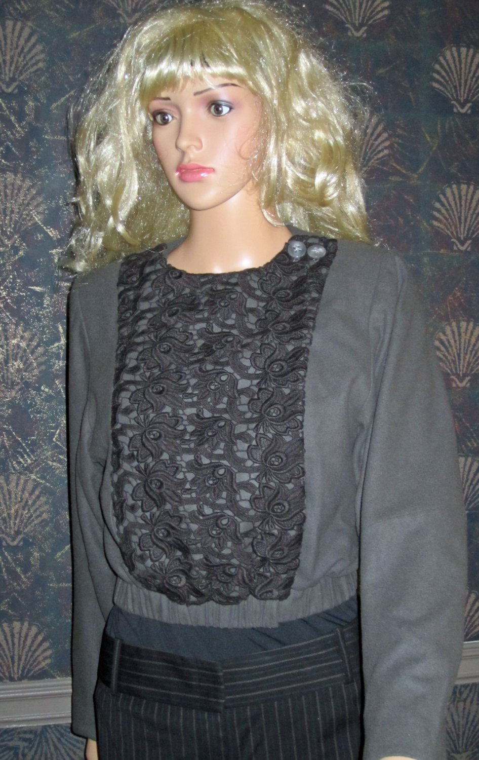 Victoria�s Secret $228 Lace Bib Snap Front Wool Blend Blazer Jacket Size 2 243537