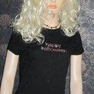 Macy's $34 Black Happy Halloween Sequin Short Sleeve Top Medium  4258449