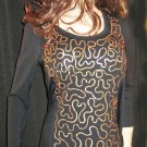 Macy's Style & Co Gold Sequins on a Black Long Sleeve Top Medium 709727