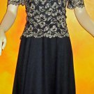 Rhapsody $525 Long Black & Gold Short Sleeve Formal Dress 8 Mother of the Bride 832383