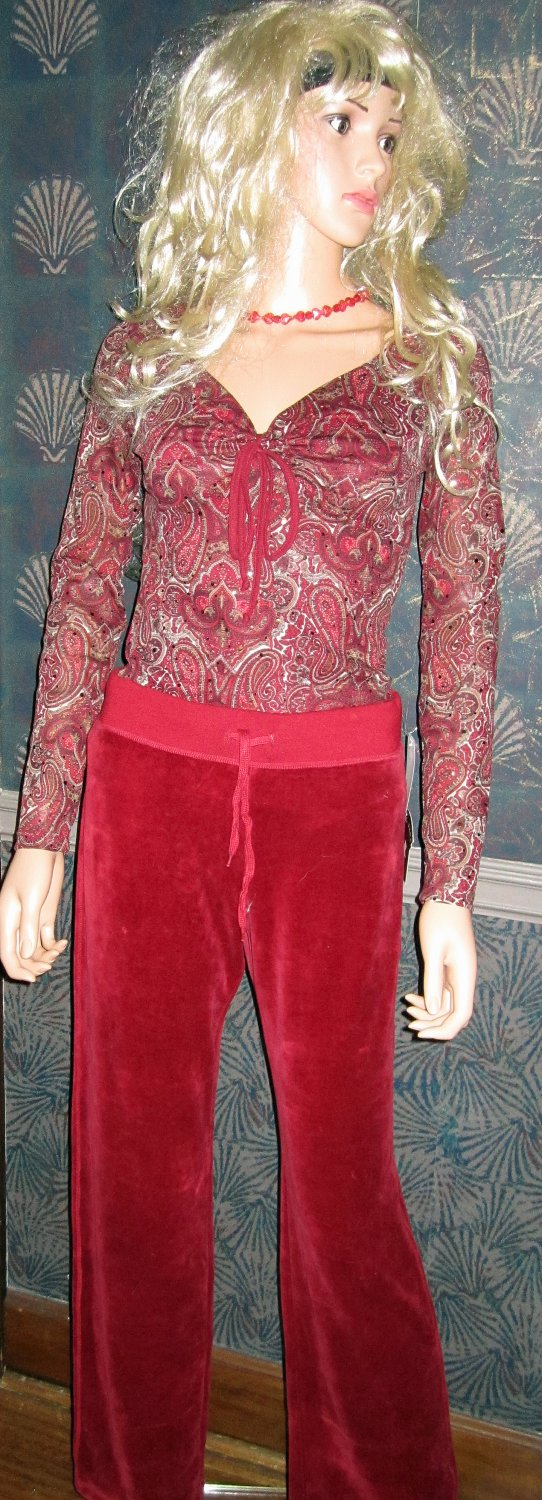 Macy's INC Red Sequin Top & Red Velour Pants Set Small   507872