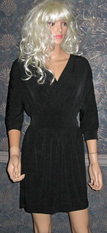 Victoria's Secret Black 3/4 Sleeve V Neck Ruched Dress XS 289343