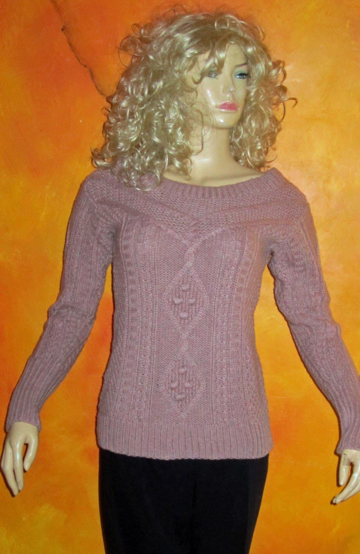 Victoria's Secret $70 Pink Cableknit Sweater Medium  277216