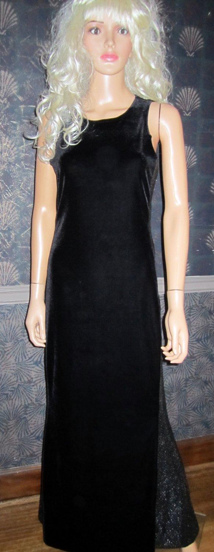 Jump Apparel Collection $170 Long Black Velvet Sequin Gown Dress 5/6 j684