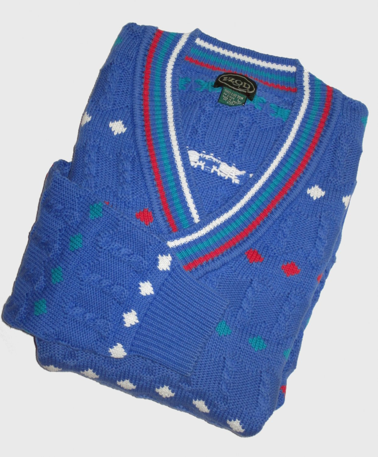 NWT Izod Men's Blue Cable Knit Cotton Golf Sweater Size Large  308