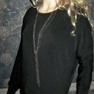 Victoria's Secret $70 Black Long Sleeve Necklace Top XS 289208