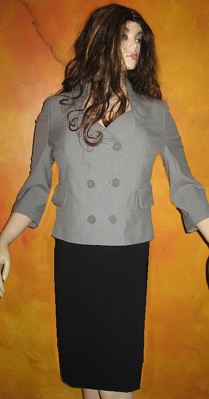 Victoria�s Secret Fully Lined Double Breasted 3/4 Sleeve Grey Blazer 8 218914