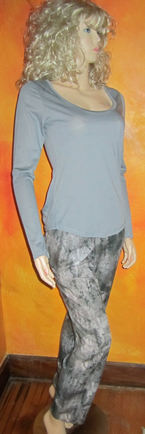 Victoria's Secret Stretch Cotton Grey Long Sleeve Tee Top Small 291208