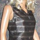 Ann Taylor $90 Silk Striped Sleeveless Black Blouse Shirt Top 6  66374