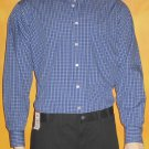 Van Heusen $55 Mens Broadcloth Navy Check Dress Shirt 17½  XL 34/35  m365