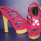 Victoria's Secret $140 Bebe Fuchsia Pink Wood Wedge Platform Sandal 10  281411