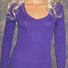 Victoria's Secret $35 Kiss Purple Long Sleeve V-Neck Top Small XS  262780