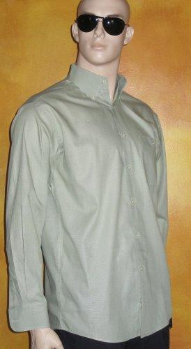 Talbot's $99 Best Quality Men's Green & White Mini Check  Dress Shirt  Medium T7173