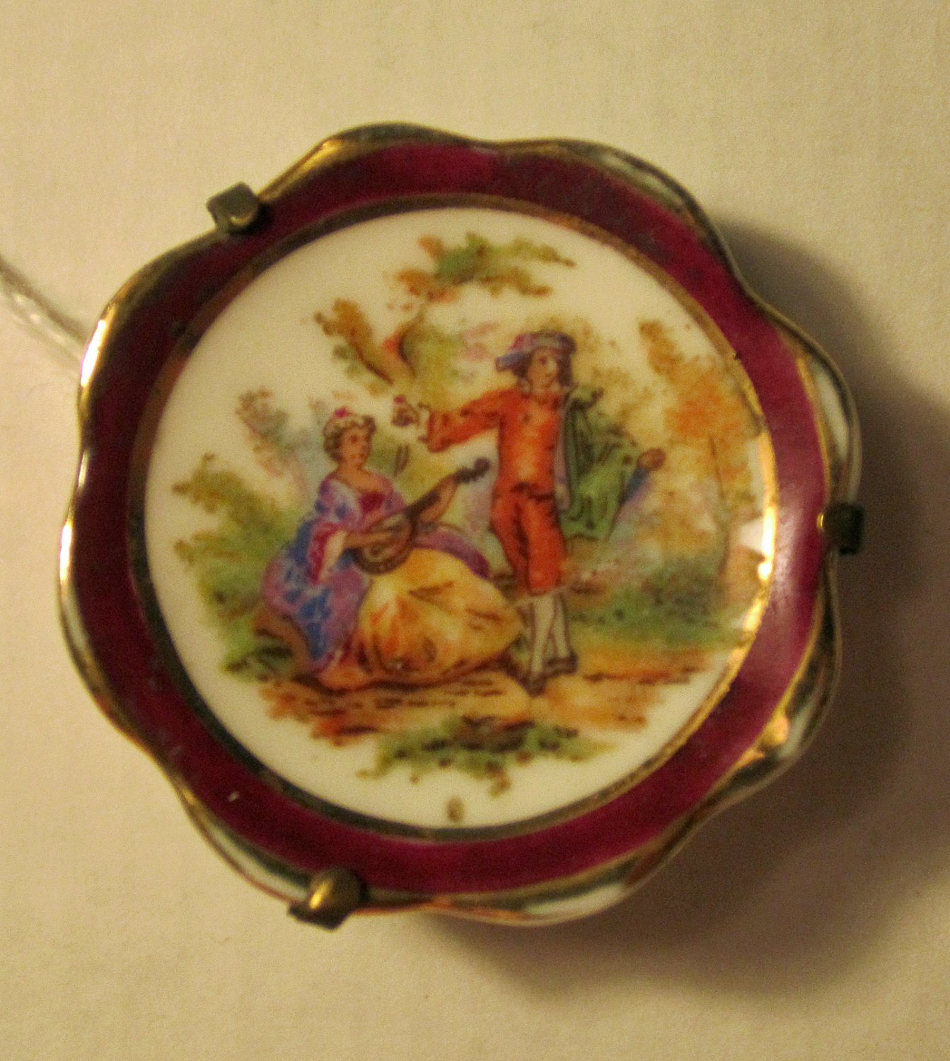 Antique Brooch by Limoges of France Lady Serenading Man