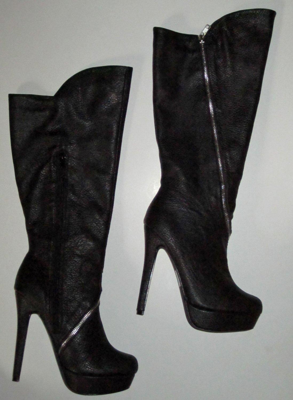 Victoria's Secret $148 Black Zipper Accent Platform Boots 8 273136