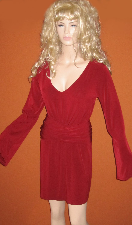 Victoria's Secret $80 Dark Red Long Bell Sleeve Belted Dress Large  286650