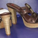 Victoria's Secret $99 Two Lips Brown Embellished Platform Sandals 8  254125
